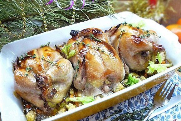 Подаем на стол сразу, пока горячие. Украшаем зеленью сельдерея и свежими веточками тимьяна!!! Приятного аппетита!!!