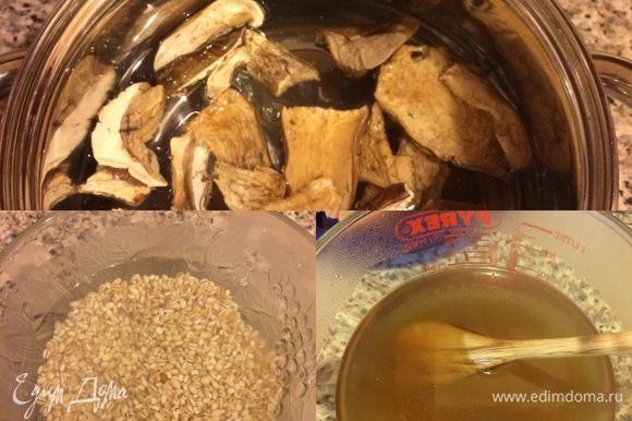 Сухие грибы (3 ст. л.) залить водой (650 мл), накрыть крышкой и оставить на ночь. Затем воду процедить, дать закипеть и растворить в ней кубик бульона (у меня овощной). Перловку хорошо промыть, залить кипятком и дать постоять 10 минут, затем еще раз промыть.