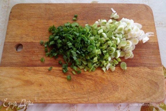 Мелко нарезаем зеленый лук.