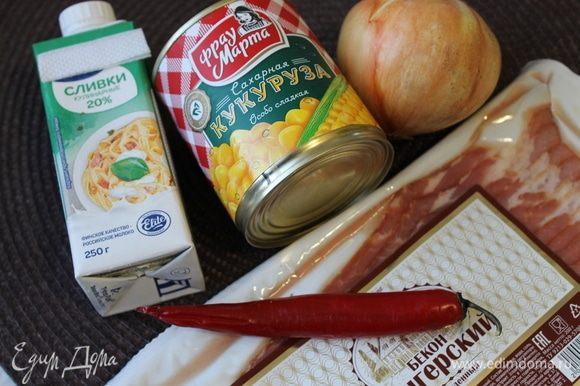Для приготовления этого блюда я использовала консервированную кукурузу ТМ «Фрау Марта». Кукуруза очень нежная, сладкая, именно такая нам и нужна. Лук-порей, за неимением такового, я заменила на репчатый.