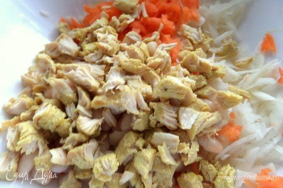 Днем мы тушили в мультиварке куриные грудки с луком в сливках с карри, солью, перцем и чесночным порошком. Все просто: обжарить (без крышки) кубики курицы, затем вместе с луком, добавить специи, сливки и тушить под крышкой на программе «Тушение», иногда подлить воды.