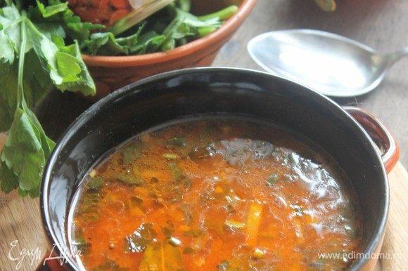 Даем супу настояться минут 30. А после грузинская весна гарантирована!)