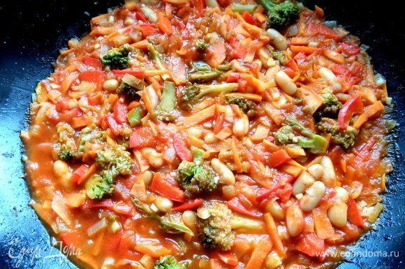 Накрыть крышкой и томить до приготовления овощей. Я люблю не сильно мягкие.