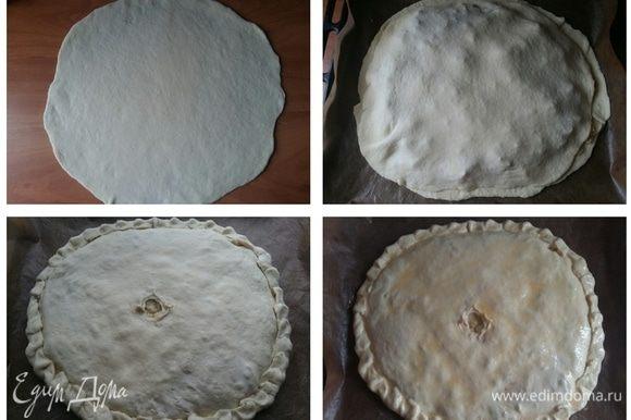 На лепешку теста выложить картофельную начинку, сверху накрыть другой половиной теста, защипать края, в середине пирога руками сделать отверстие для того, чтобы при выпечке пирог не вздулся. Смазать поверхность пирога взболтанным яйцом и отправить в разогретую до 200°С духовку на 30–40 минут. Как зарумянится, значит, пирог готов.