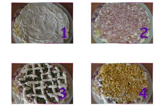 Собираем наши подготовленные продукты в салат. Первый слой — картофель, промазываем майонезом, второй — ветчина, третий — зеленый лук, делаем сеточку из майонеза. Четвертый слой — кукуруза.
