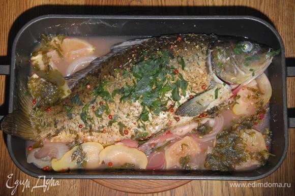 Петрушку и шнитт-лук мелко порубить и посыпать готовую рыбу.