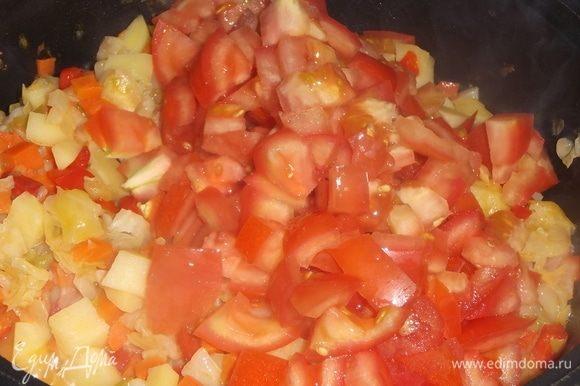 В рагу добавляем нарезанные помидоры и томатную пасту. Готовим 5 минут, помешивая.