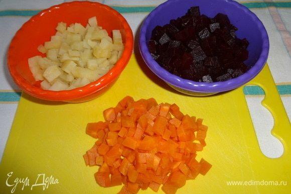 Свеклу, морковь, картофель очистить от кожуры и нарезать мелкими кубиками. Свеклу полить половиной нормы растительного масла и перемешать.