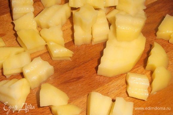 Картофель нарезать, добавить в бульон с мясом. Посолить, варить 10 минут. Добавить суповую основу, варить еще 15 минут.