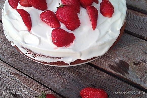 Готовим крем. Влить в кастрюльку 100 мл сливок, подогреть и растопить в них шоколад. Перемешать и дать остыть до комнатной температуры. Хорошо охлажденные оставшиеся сливки взбить до мягких пиков. Не прекращая взбивать, влить шоколадно-сливочную смесь и взбить до твердых пиков. Нанести крем на торт и украсть свежей ягодой! Если собираете торт из двух коржей, соответственно разделить крем на 2 части, смазать 1 корж, украсить ягодой, сверху 2 корж, и снова ягоду.