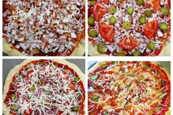 Выкладываем копченую грудинку (или колбасу), помидоры, маринованные огурчики, посыпаем немного моцареллой. Запекаем 15–20 минут в духовке при 200⁰С.