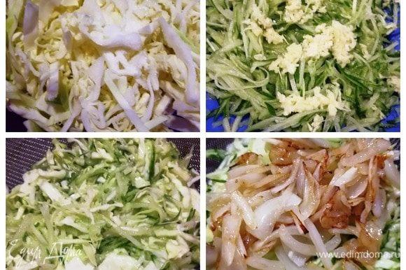 Капусту тонко нашинкуем и солим. Хорошо мнем руками. Огурцы натрем на терке для корейской моркови, натрем чеснок. Огурцы и чеснок перемешаем, посолим. Перекладываем в сито, чтобы лишняя жидкость стекла. Половину капусты добавляем к огурцам и перемешиваем. Половинку луковицы обжариваем в кунжутном масле и горячей добавляем к огуречно-капустной смеси. Первая составляющая супа готова.