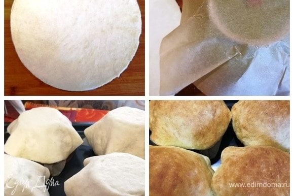 Каждый шарик раскатываем в лепешку. Если хотите тонкие тарелочки, раскатывайте тесто очень тонко. Керамические пиалы переворачиваем вверх дном. Кладем сверху пергамент, смазываем его растительным маслом. Укладываем тесто сверху, прижимая и формируя тарелочки. Переносим на противень и выпекаем в духовке при температуре 200°C около 15–20 минут. Аккуратно снимаем тарелочки и остужаем.