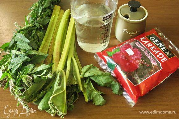 Подготовим продукты: мяту, ревень, каркаде, воду и сахар. Сахар можно заменить на мед.