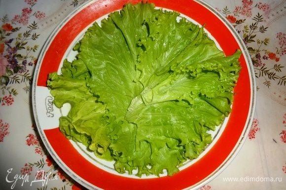 Салатные листья вымыть, обсушить. Дно глубокой тарелки выстелить салатными листьями. На листья салата выложить рулетики из баклажанов. По кругу разложить кружки обжаренного картофеля. Остатки начинки и остатки картофеля положить в блюдце.