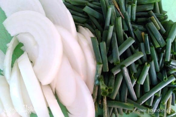 Лук репчатый нарезать полукольцами, зеленый крупно порубить.