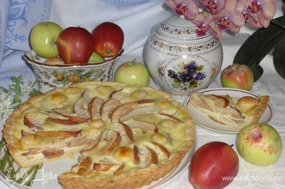 Выложить пирог на блюдо, разрезать на порции. Накрывать на стол, разлить чай по чашкам. Прошу к столу! Угощайтесь! Всем приятного аппетита!
