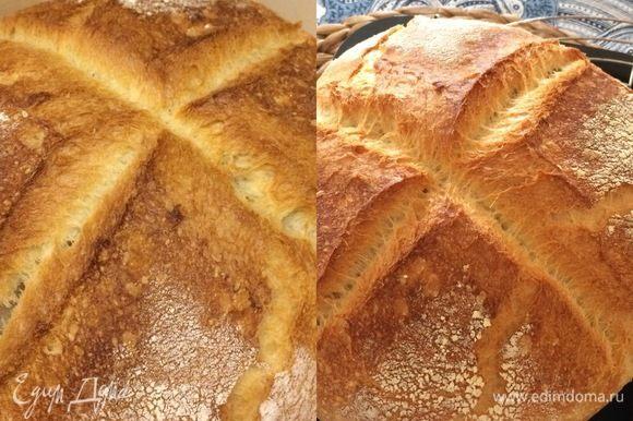 Автор рецепта выпекал хлеб на раскаленном поду, но так как у меня нет такой возможности, я решила печь свой хлеб в чугунке. Пока мое тесто отдыхало, я поставила чугунок в духовку и нагрела ее до 220°C. Спустя указанное время достала горячий чугунок, очень аккуратно переложила хлеб в чугунок, быстро накрыла крышкой и поставила в духовку. Выпекала под крышкой 20 минут, а затем сняла крышку и выпекала еще 40 минут.
