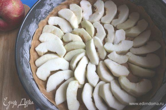 Распределить дольки яблок по кругу. Вам потребуется 450–500 г яблок, яблоки кладутся в один слой.