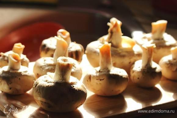 Пока печется рулет, приготовить начинку: грибы и лук пожарить на растительном масле, посолить и поперчить.