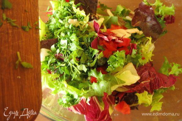 Нарезаем петрушку, мяту, кладем томаты и половину салата.