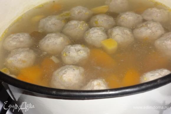 Фрикадельки опустить в суп и варить до готовности.