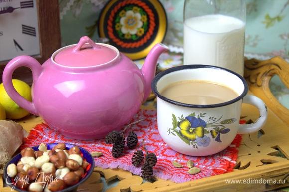 Такой вариант пригодится, когда некогда готовить этот чай по обычному рецепту, а чего-нибудь особенного и пряного хочется.