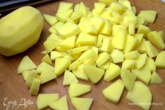Картофель нарезать, как нравится.