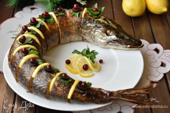 Рыбу остудить, нарезать порционными кусочками и выложить на блюдо в виде целой щуки. Украсить по желанию.