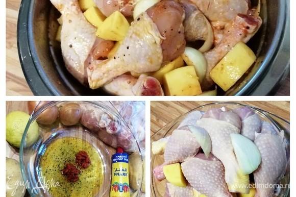 Если хотите, курицу и картофель можно замариновать в соусе и хранить в холодильнике несколько часов или всю ночь, пока вы не будете готовы испечь их. Для запекания я использовала противень, на котором достаточно места, чтобы держать их на расстоянии; если кусочки курицы и картофеля находятся слишком близко, они скорее «парятся», чем жарятся. Итак: в большой миске смешайте хариссу, оливковое масло, тмин, цедру лимона, соль и перец. Добавьте куриные части, очищенный и нарезанный картофель и лук, нарезанный крупными лепестками. Тщательно перемешайте, обязательно используйте руки, чтобы втирать соус под кожу курицы. Оставьте на 30 минут при комнатной температуре. Паста харисса состоит из чили пасты, тмина, чеснока, кориандра и соли.