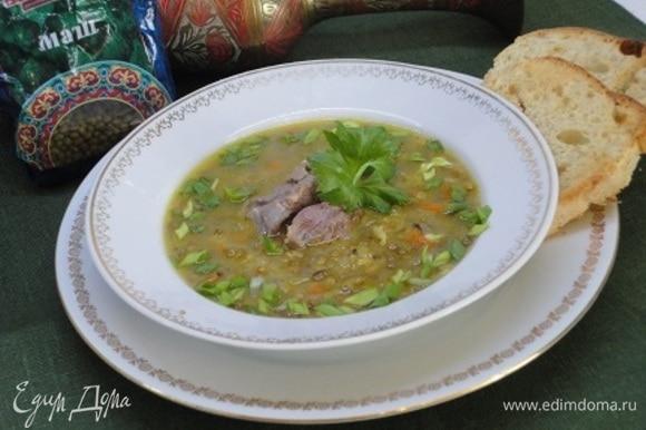 Подаем с кусочком мяса, зеленью и гренками. Наслаждаемся ароматным сытным супом с шелковистой структурой.