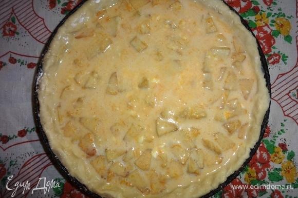 Выложить тыквенную массу в форму с тестом. Поставить форму с пирогом в духовку, разогретую до 180°C, на 45–50 минут. Ориентируйтесь по своей духовке.