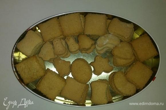 Для дальнейшего хранения кладем печенье в жестяную коробку. Оно хранится около 1,5 месяцев в жестяной коробке с плотно закрытой крышкой. Приятного аппетита!
