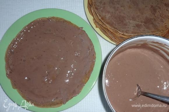 Смазывать кремом блинчики и укладывать друг на друга.Для украшения натереть на терке шоколадную конфету и посыпать торт.