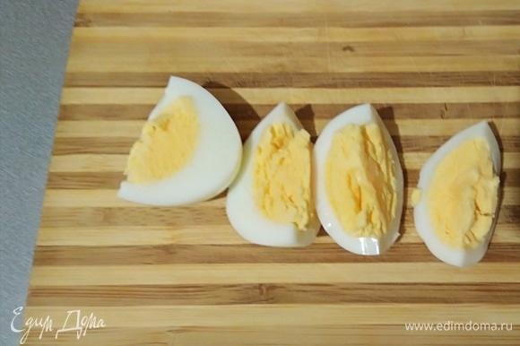 Яйцо отварить, остудить, нарезать.