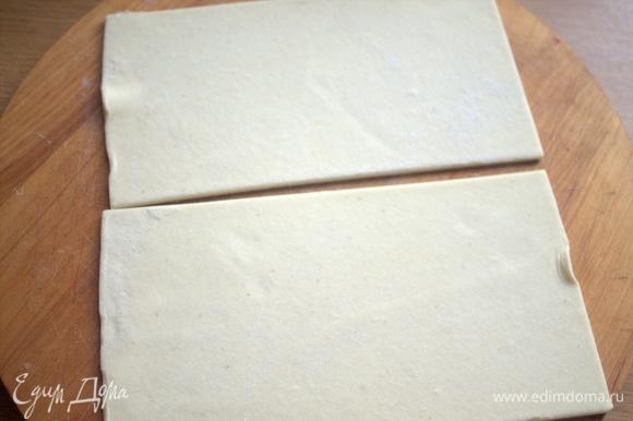 Взять 2 прямоугольника замороженного теста размером 10х20 см.