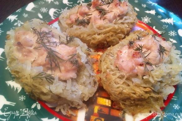 Выложить гнезда на тарелку. Желаю вам приятного аппетита.