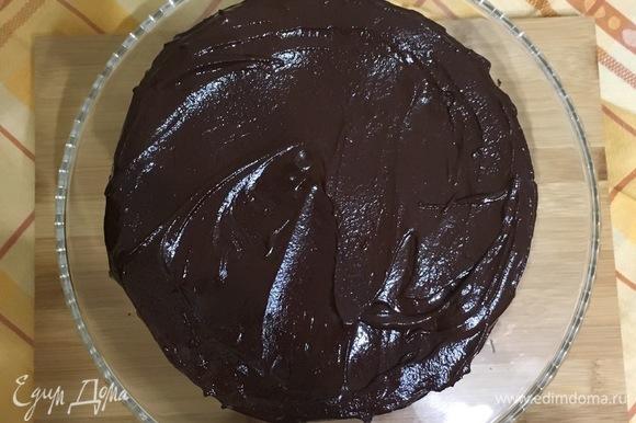Приготовить глазурь: 100 г шоколада растопить на водяной бане, затем добавить мед, перемешать, полить торт глазурью и разровнять широким ножом.