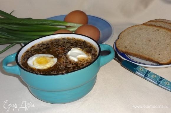 Разлить зеленый борщ по тарелкам, положить по кусочку яйца, сметану. Подавать с зеленым луком.
