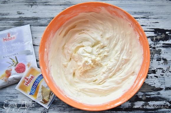 Влить сливки, добавить цедру и ванилин. Перемешать. Начинка должна быть однородной и гладкой.