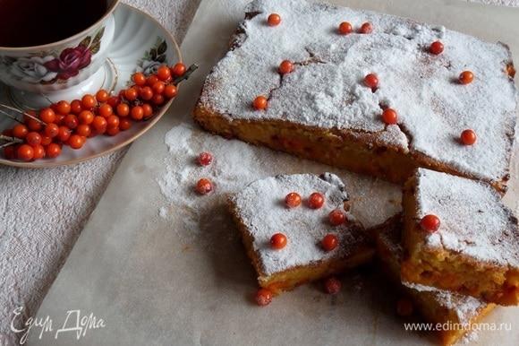 Полностью остужаем, нарезаем и подаем пирог. Посыпаем верх пирога сахарной пудрой и украшаем ягодами облепихи.