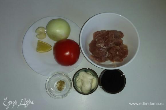 Собираем вместе все необходимые для приготовления шашлыка ингредиенты. В перечне ингредиентов я указала аджику (у меня она сухая), но вы можете использовать любую приправу для мясных блюд, которой обычно пользуетесь.