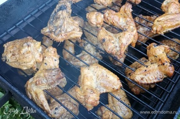 Подготовленные куски мяса выложить на решетки, накрыть крышкой и ставим на огонь минут на 25–30.