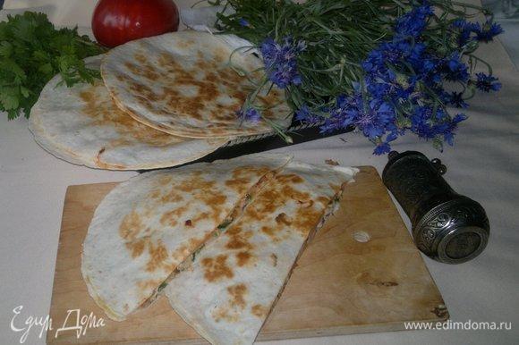 Не забыть взять кесадильи на пикник, чтобы вкусно перекусить в ожидании шашлыков. Угощайтесь! Приятного аппетита!