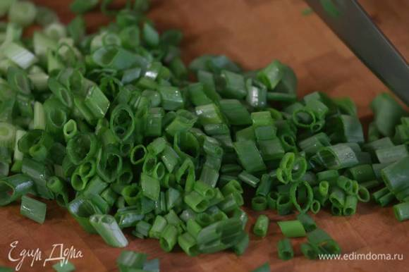 Зеленый лук крупно порезать наискосок.