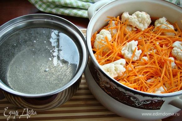 Смешать в кастрюле капусту, морковь и чеснок. В отдельном сотейнике вскипятить маринад из воды, уксуса, соли, сахара и растительного масла и горячим залить капусту.