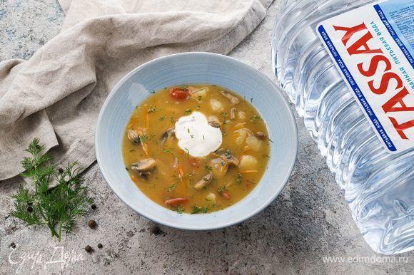 Готовый суп подавайте с зеленью и сметаной. Приятного аппетита!