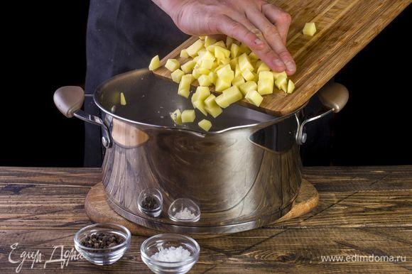 В кипящую воду добавьте кубиками нарезанный картофель. После повторного закипания посолите и поперчите.