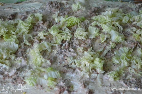 Второй лист также смазать майонезом, разложить сайру, савойскую капусту, огурцы, помидоры.