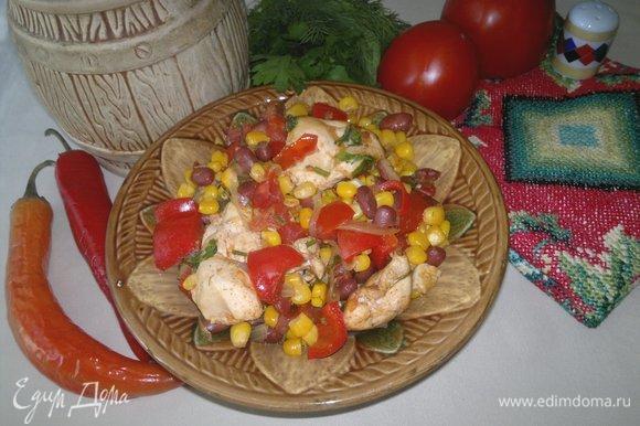 Вкусная и ароматная курица по-мексикански готова! Разложить блюдо по порциям. Угощайтесь! Приятного аппетита!